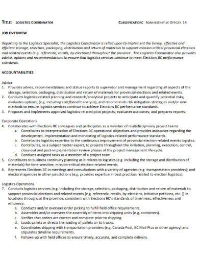logistics administrative coordinator job description
