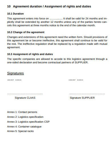 logistics agreement sample template