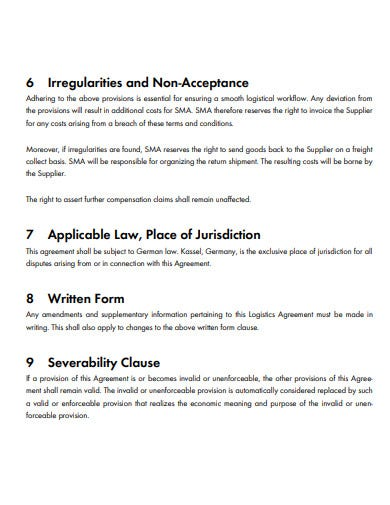 logistics agreement template