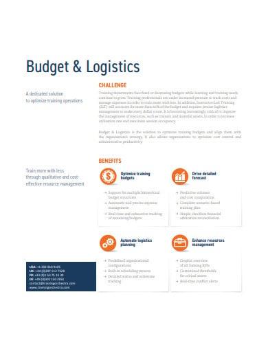 logistics budget template