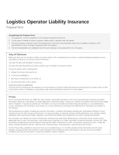 logistics business operator proposal