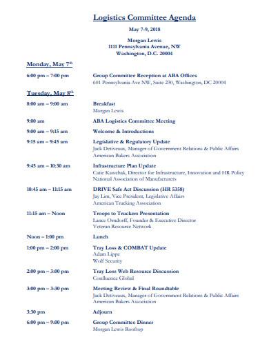 logistics committee agenda template