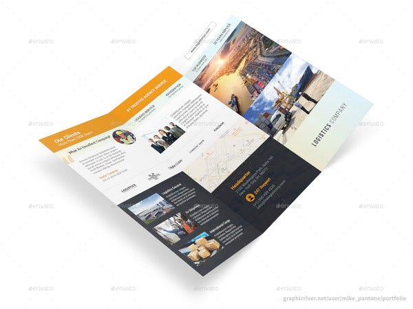 logistics company trifold brochure