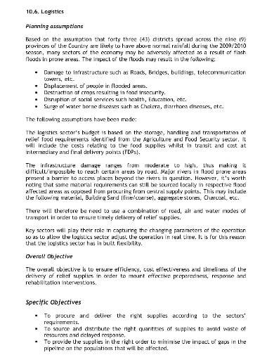 logistics contingency plan in pdf