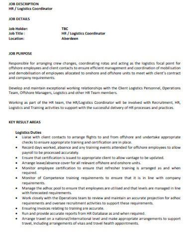 logistics coordinator job description example