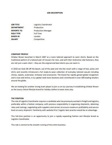 logistics coordinator job description in pdf