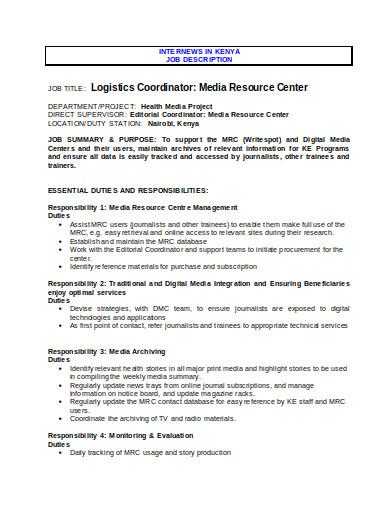 logistics coordinator job description
