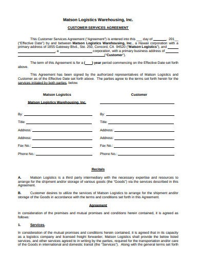 logistics customer service agreement