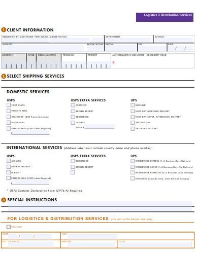 logistics distribution form