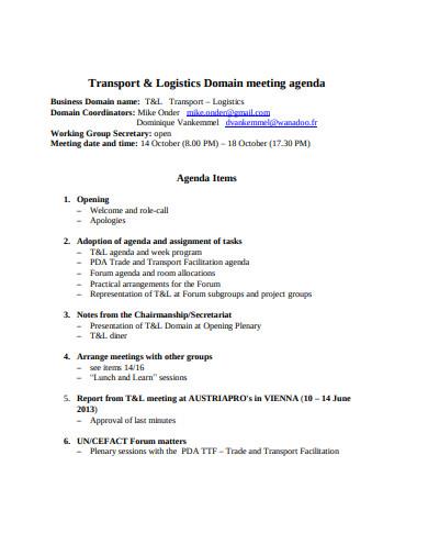 logistics domain meeting agenda template