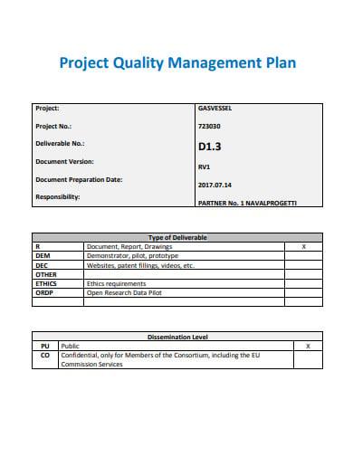 logistics management quality control plan template