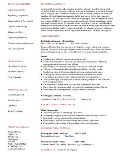 logistics manager cv template