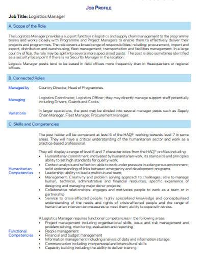 logistics manager job description template1