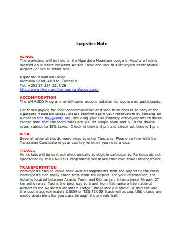 logistics note in doc