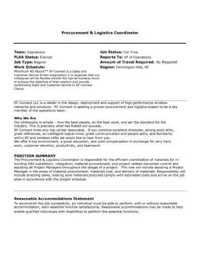 logistics operations coordinator job description template