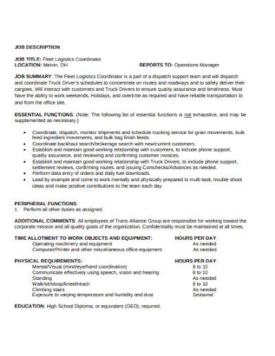 logistics operations coordinator job description