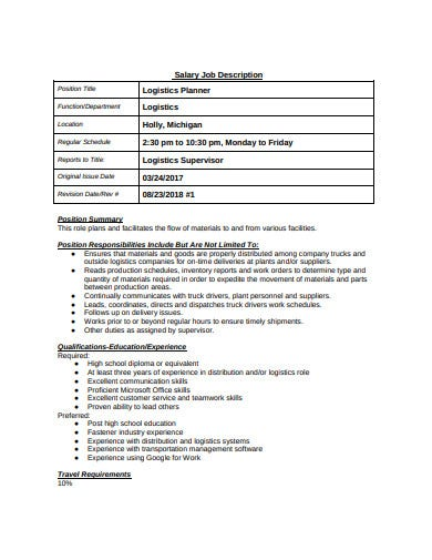 logistics planner salary job discription template