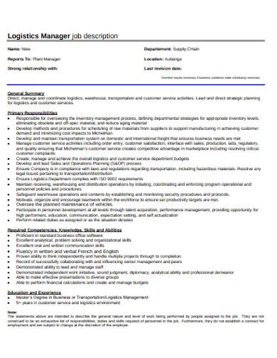logistics plant manager job description