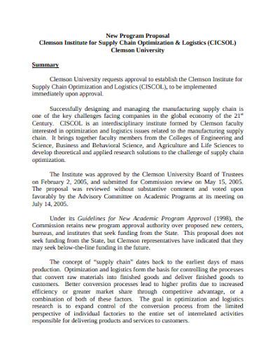 logistics program proposal in pdf