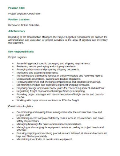 logistics project coordinator job description