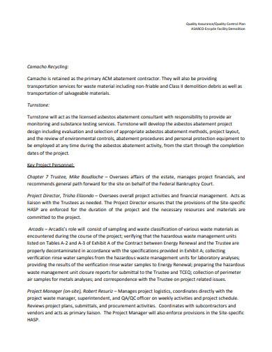 logistics quality control plan example