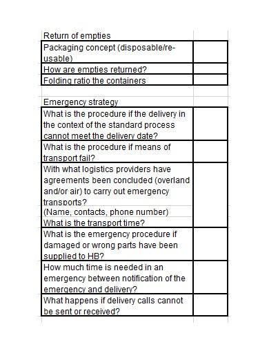 logistics quality control plan template in xls