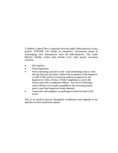 logistics quality control plan template