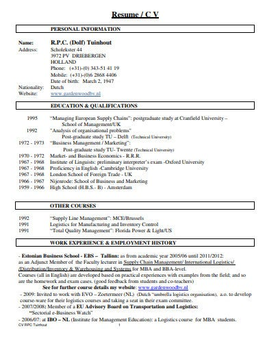 logistics resume example