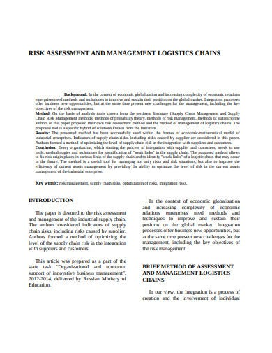 logistics risk and management assessment chains