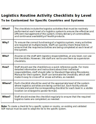 logistics routine activity checklists