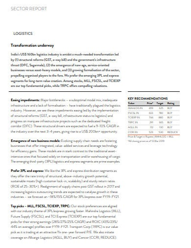 logistics sector report template