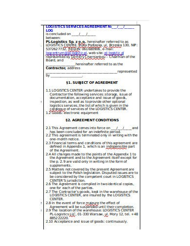 logistics service agreement log