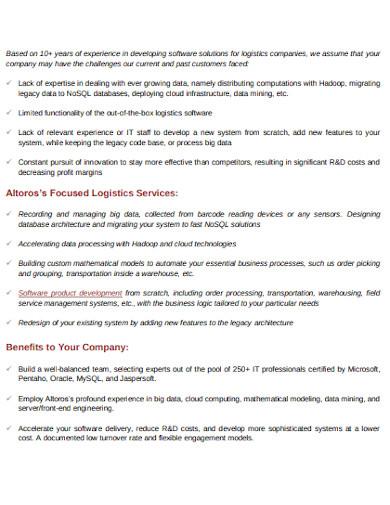 logistics service proposal template
