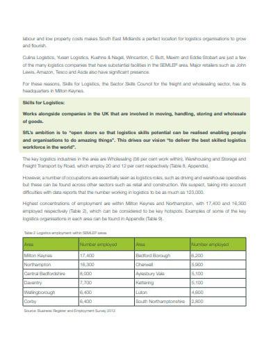 logistics skills report template