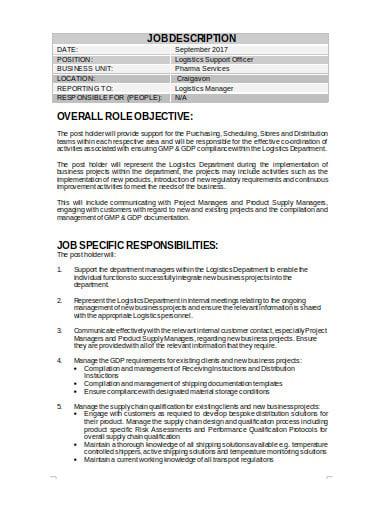 logistics support manager job description