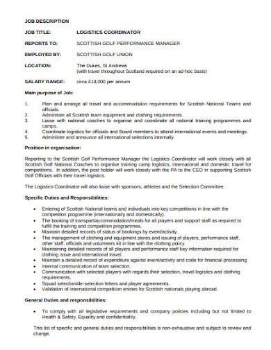 logistics transport coordination job description