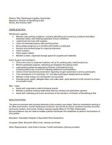 logistics warehouse coordinator job description