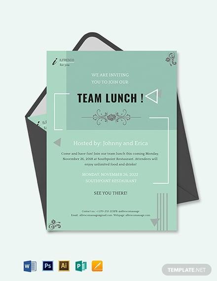 lunch invitation template green