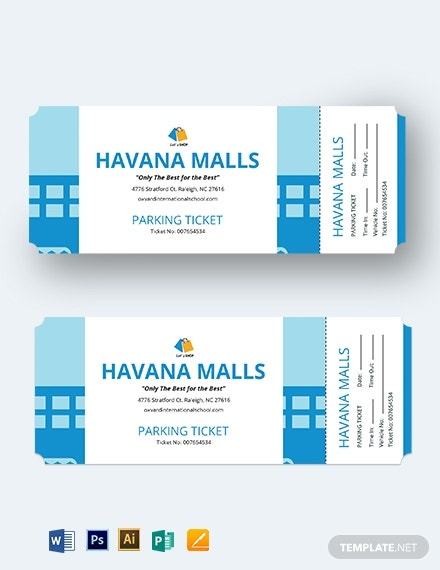 mall parking ticket template 1