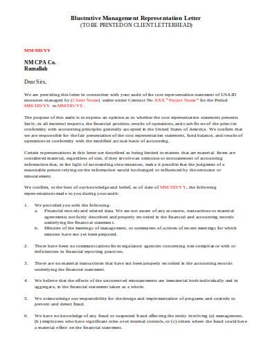 management representation letter template in doc