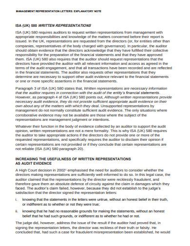 management representation letters template