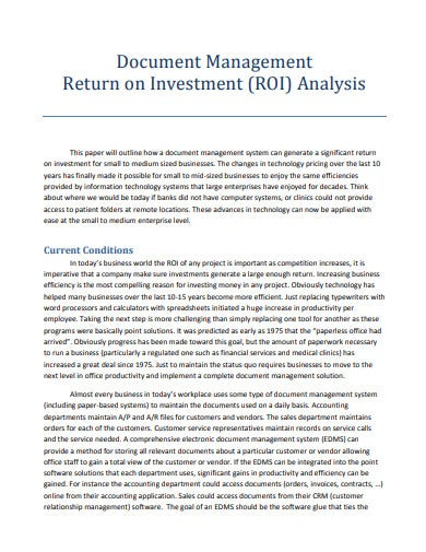 management return on investment analysis