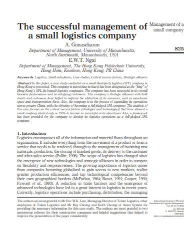 management of small logistics company