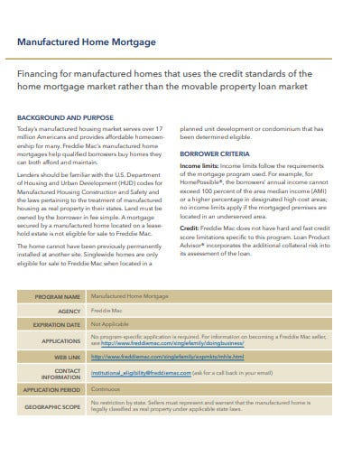 manufactured home mortgage template