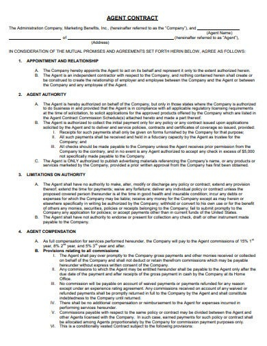 marketing agent contract template