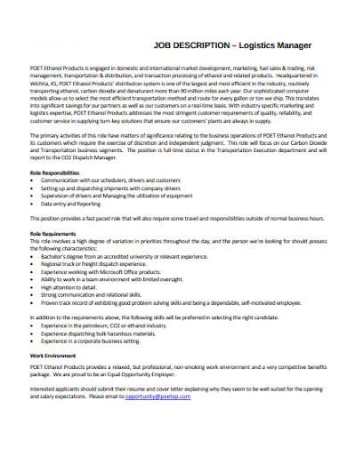marketing logistics manager job description