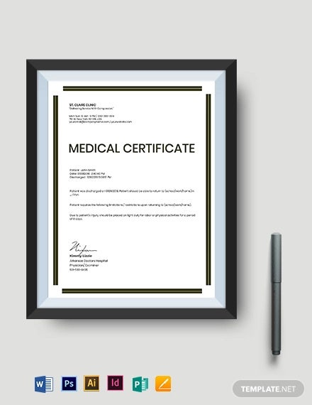 medical certificate template for injury