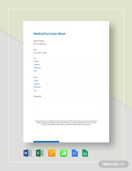 medical fax cover sheet template