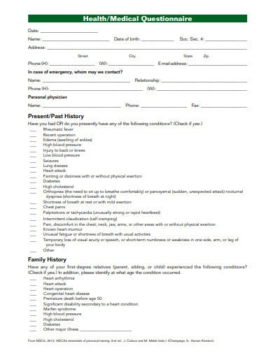 medical questionnaires