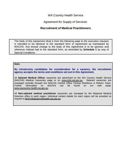 medical recruitment agency agreement